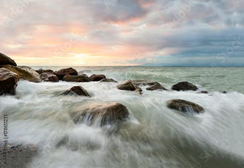 Aluminium Strand Ocean Waves Sunset
