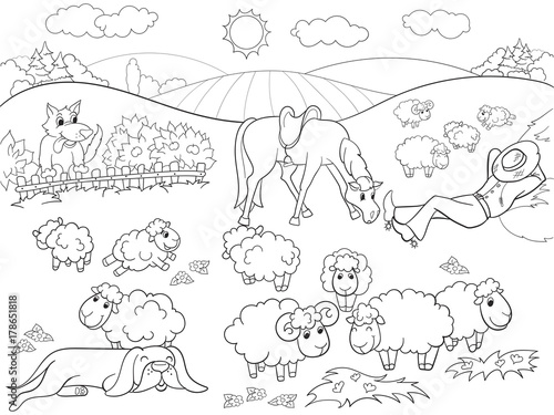 Pasture sheep with a shepherd and dog coloring for children cartoon raster illustration