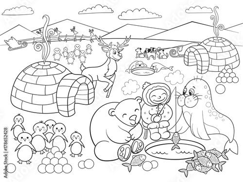 Kids Coloring North Pole raster illustration