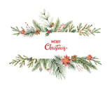 Watercolor vector Christmas banner with fir branches and place for text. - 178653280