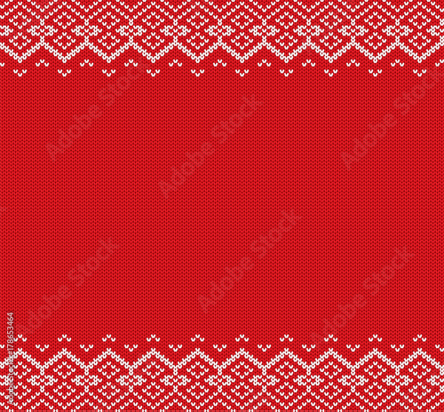fototapeta na ścianę Knitted christmas background. Red and white geometric ornament. Xmas knit winter sweater texture design.