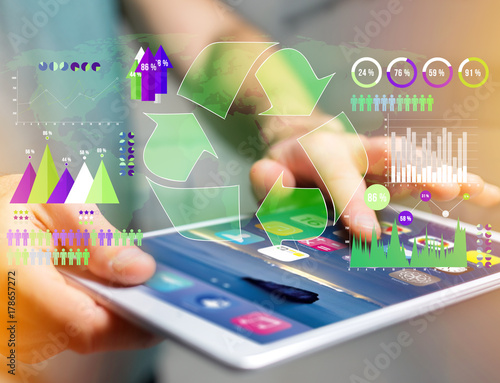 Technology ecologic interface with world map on the background - Ecology concept Poster