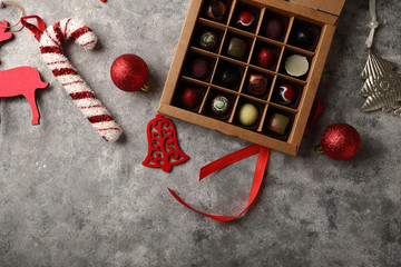 Christmas background with candies box