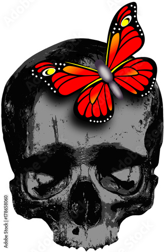 Poster Vlinders in Grunge skull with red butterfly