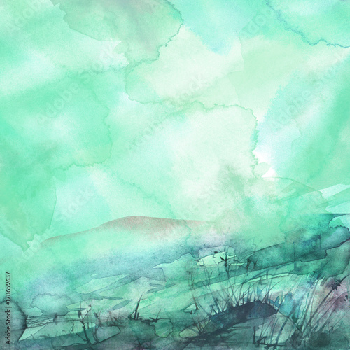 Foto op Aluminium Groene koraal Green, blue abstract background, with beautiful spots of paint, splash, branches, wild grass, mountain landscape, sky. A place for your inscription and design. Vintage watercolor art background.