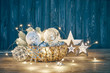 Christmas decoration for firtree glass balls garland and star