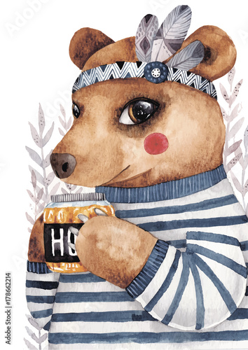 Cute watercolor bear with honey - 178662214