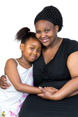 Close up portrait of little african child together with mother isolated on white background.
