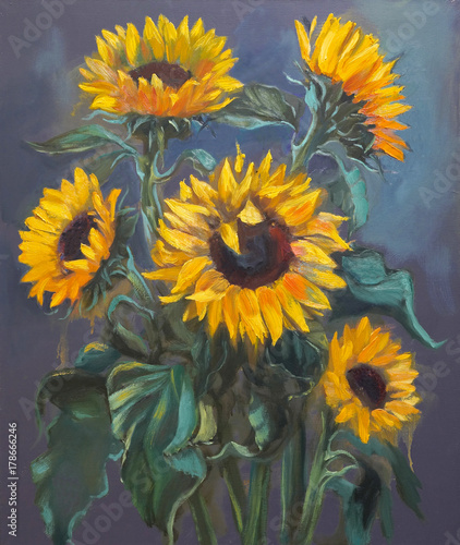 Sunflowers on dark gray background, original oil painting on canvas in impressionistic style. © Irina Sergeyeva