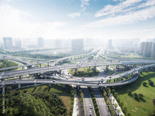 Obraz na płótnie road junctions in midtown of modern city