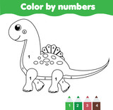 Children educational game. Coloring page with cute dinosaur. Color by numbers, printable activity