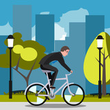 Businessman riding on the bike and hurrying to work.