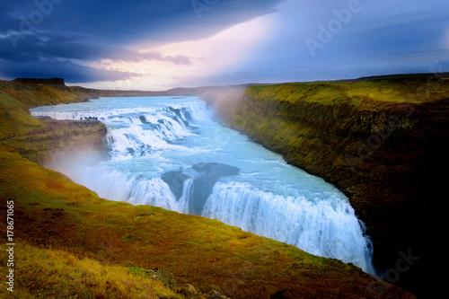 Gullfoss Waterfal Icelandic scenery - 178671065