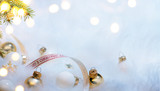 Christmas holidays composition on white fur background with copy space for your text - 178678471