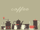 Coffee background. A set of flat dishes icons for a coffee house. Vector illustration. - 178681820