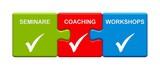 Fototapety 3 Puzzle Buttons zeigen Seminare Coaching Workshops