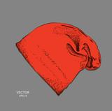hat hippie. Headgear hand-drawn sketch. Vector illustration