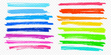 Highlight brush underline hand drawn strokes set. Vector marker or color pen lines in yellow, red, orange, green, blue highlighter strokes on transparent background - 178695248