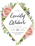 Vector floral design card: watercolor pink peach garden Rose green leaves succulent plant greenery. Natural botanical Greeting wedding invitation, invite. Geometrical rhombus golden Frame & copy space
