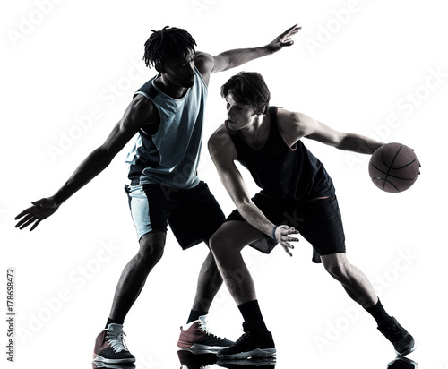 Plexiglas Basketbal two basketball players men isolated in silhouette shadow on white background