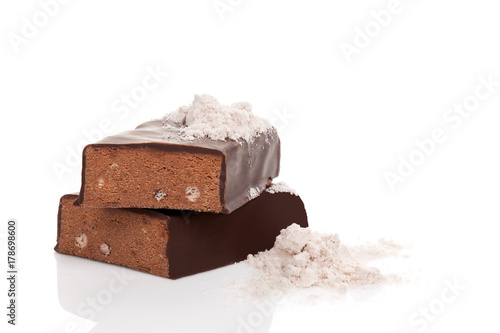 Protein bar and powder.