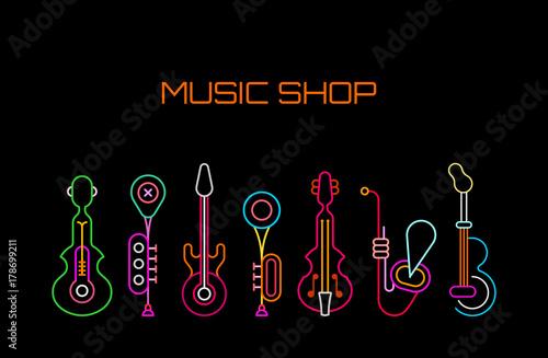 Foto op Plexiglas Abstractie Art Music Shop neon sign