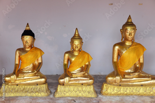 Foto op Canvas Boeddha row of tradition golden buddha statue as background