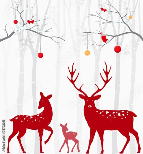 red-christmas-deer-with-birch-tree