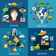 Environmental Problems Concept Icons Set