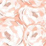 Hand drawn linen peony flower, vector illustration for design, fabric, banner, poster, cover. Elegance pattern with peony flowers.