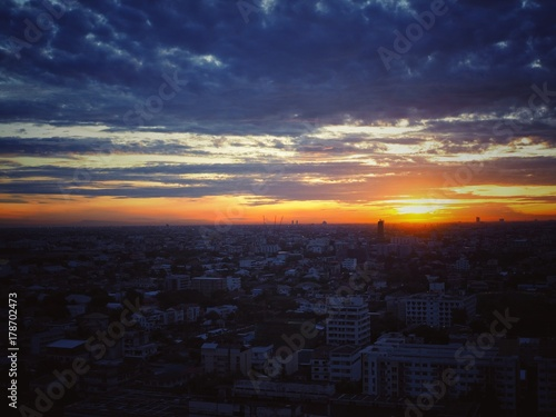 Sunrise view in Low Rise Building in Bangkok Poster