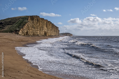 West Bay Cliffs in Dorset in England Poster