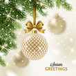 Christmas greeting card - patterned golden bauble with glitter gold bow hanging on a christmas tree. Vector illustration.