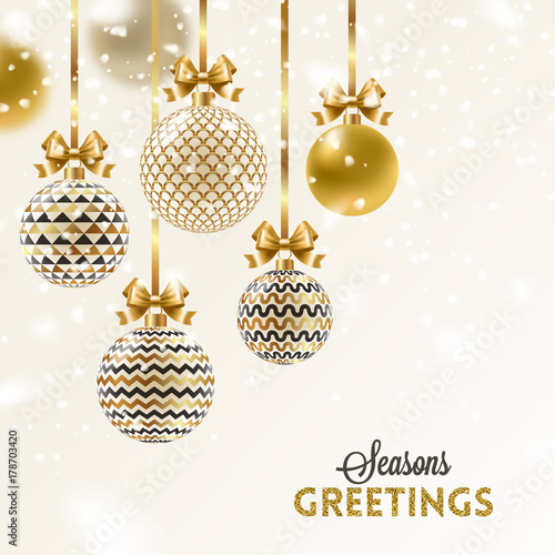 Christmas greeting card - patterned golden baubles with bow under snow. Vector illustration.