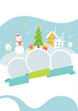 Winter Holidays Events Poster Template with Snowy Background, Snowman and Christmas Tree. Vector Illustration