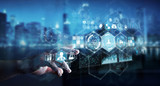 Businessman using digital medical interface 3D rendering