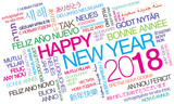 Happy New Year 2018 worldwide New Year's Eve celebration multicolor international wishes traduction colorful words tag cloud text greetings - 178709008