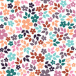 Cute colorful seamless pattern with little flowers and leaves vector illustration. Turquoise, purple, orange on a white background - 178714058