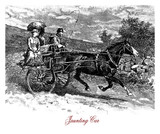 Vintage Engraving Of Two Wheels Jaunting Car Trained By Horse Wall Sticker