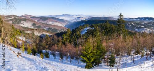 Fotobehang Diepbruine Landscape in the hills, Poland