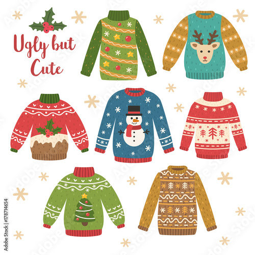 44625af55c Cute set of ugly Christmas sweaters. Vector illustrations. Funny  traditional knitted clothes with different