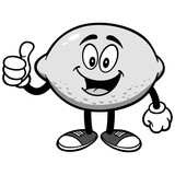 Lemon with Thumbs Up Illustration - 178717070
