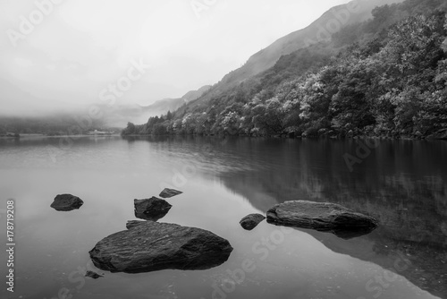 Foto op Canvas Wit Black and white Landscape of Llyn Crafnant during foggy Autumn morning in Snowdonia National Park