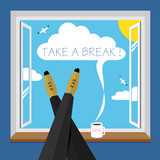 Funny poster a break - 178723225