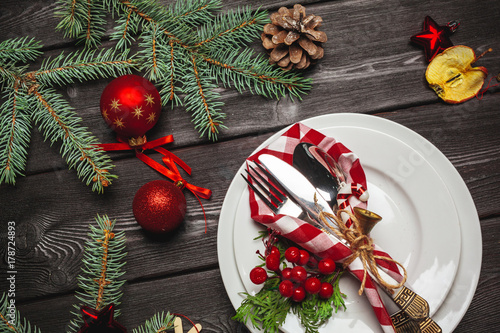 Christmas table place setting - 178724893