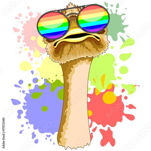 Keuken foto achterwand Draw Funny Ostrich with Rainbow Sunglasses
