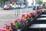 outdoor cafe with flowers - 178726033