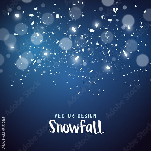 Snow storm effect with falling snowflakes, vector illustration.