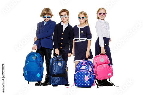 school children with bags
