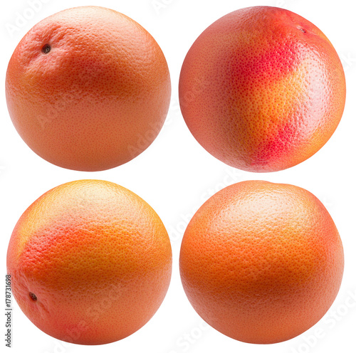 collection of grapefruit isolated on a white background плакат